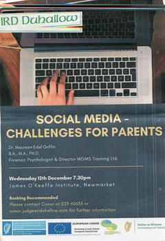 Social Media - Challenges for Parents hosted by IRD Duhallow