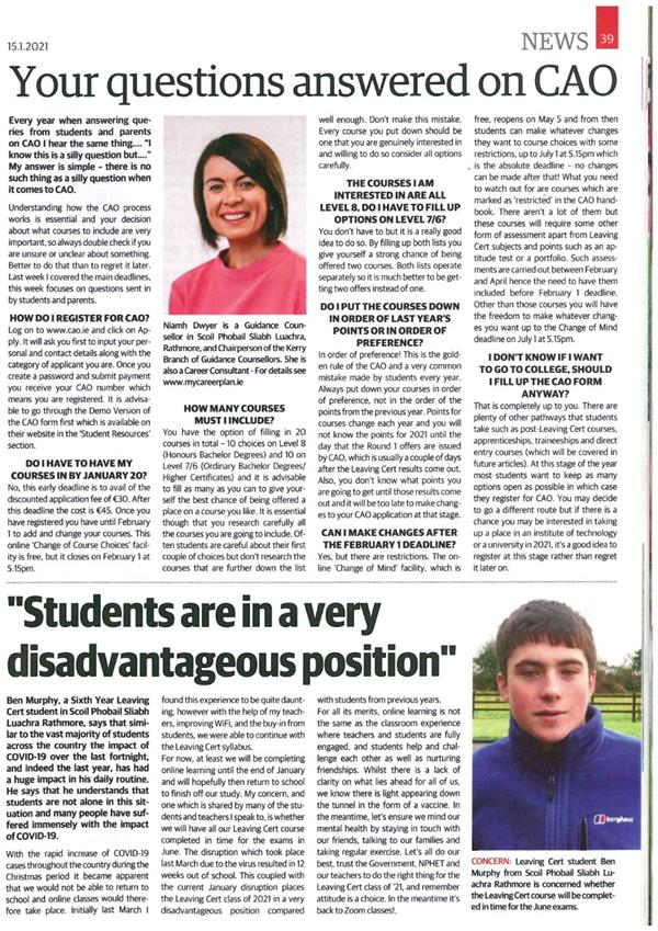 CAO Advice and LC student's viewpoint